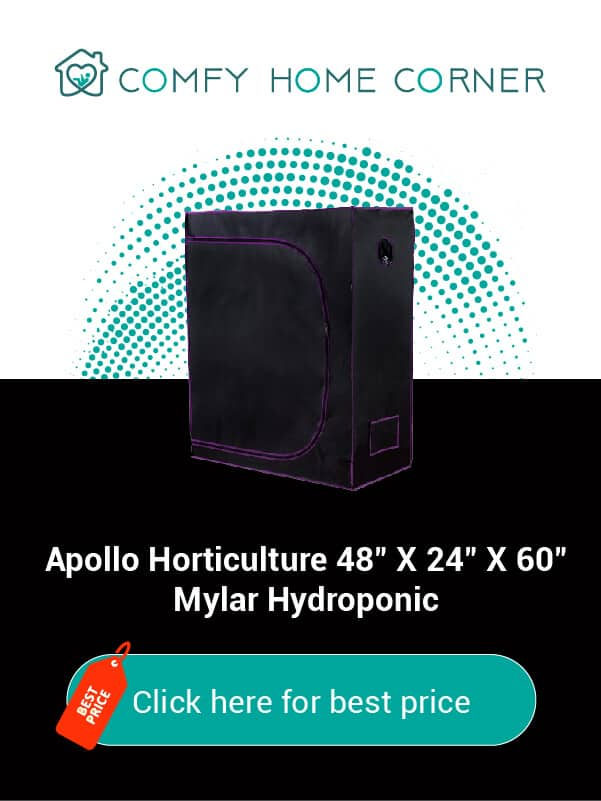 """Apollo Horticulture 48""""x24""""x60"""" Mylar Hydroponic Grow Tent"""