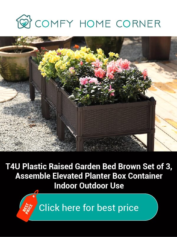 T4U Plastic Raised Garden Bed Brown Set of 3, Assemble Elevated Planter Box Container Indoor Outdoor Use