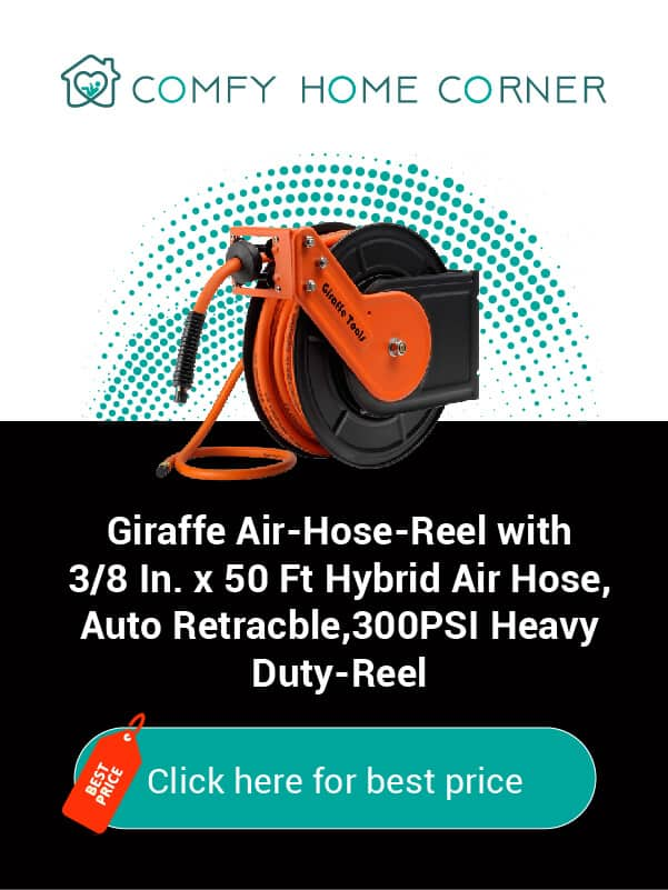 Giraffe Air-Hose-Reel with 3/8 In. x 50 Ft Hybrid Air Hose,Auto Retractable,300 PSI Heavy Duty-Reel