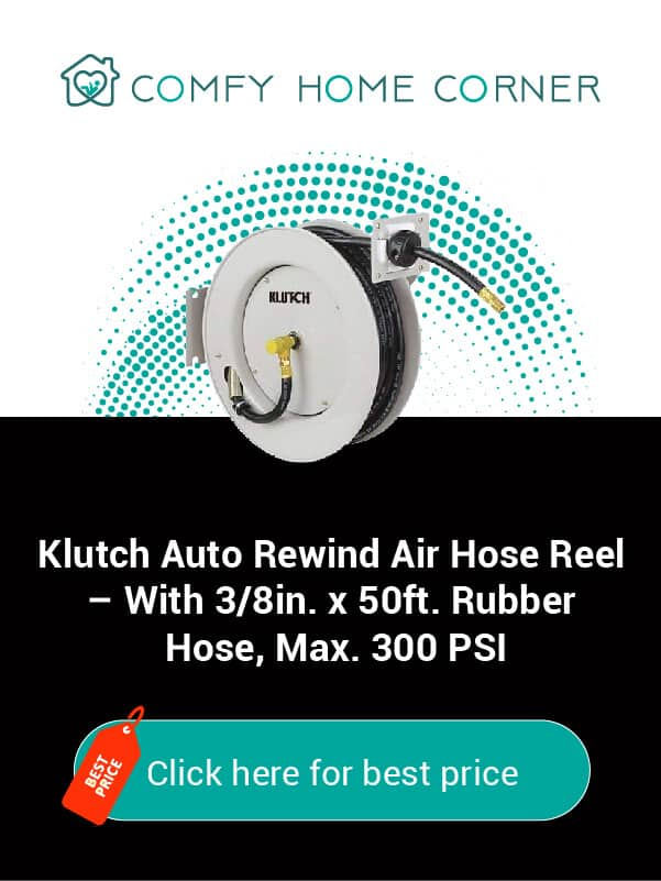 Klutch Auto Rewind Air Hose Reel – With 3/8in. x 50ft. Rubber Hose, Max. 300 PSI