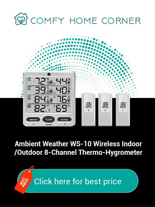 Ambient Weather WS-10 Wireless Indoor/Outdoor 8-Channel Thermo-Hygrometer