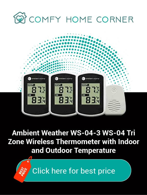 Ambient Weather WS-04-3 WS-04 Tri Zone Wireless Thermometer with Indoor and Outdoor Temperature